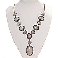 """Колье Розовый кварц  """"13 камней""""  оправа """"точка крестик"""" овальный камень """"больше меньше"""" 26*21-17*13- 42*30мм L-50см"""