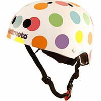Шлем детский Kiddi Moto белый в цветной горошек, размер S 48-53см