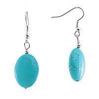 [4,5/2см] Серьги женские оптом, подвески овальные, из декоративной голубой бирюзы