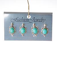 [20 мм] Серьги женские набор 4 шт с камнем из голубой бирюзы с прожилками черепашки