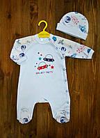 Слип для новорожденного мальчика Merry Bee 12182 р.62 белый красный и синий рисунок