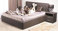 Кровать двуспальная кожаная 140х200 Рианна  с мягким изголовьем и подъемным механизмом