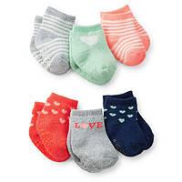 Комплект махровых носочков для девочки Carters Любовь сердечки, Размер 0-3, Размер 0-3