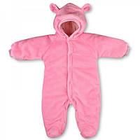 Теплый  комбинезон для новорожденных розового цвета