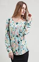 Качественная блуза свободного кроя бирюзового цвета с цветочным принтом