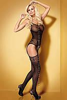 Сексуальный боди – комбинезон Bodystocking G 307 Obsessive (Обсессив) черный,красный, фото 1