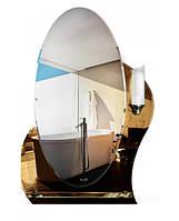 Зеркало овальное с подсветкой, полочкой и декором (размер 80х55 см)