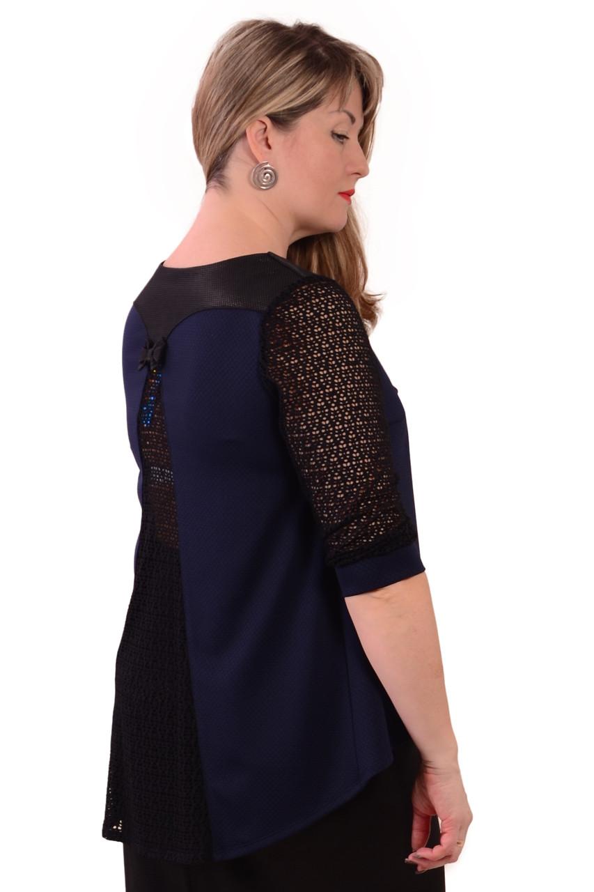 Блуза темно синяя с кружевом женская лонгслив свитшот , Бл 013-3 .