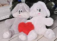 Мягкая игрушка зайка Снежок 100 см  Заяц плюс Сердце