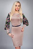 Нарядное женское платье с цветочным рукавом