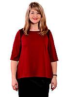 Блуза темно синяя с кружевом  женская лонгслив свитшот , Бл 013-3 . 48, бордо