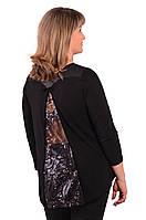 Блуза темно синяя с кружевом  женская лонгслив свитшот , Бл 013-3 . 48, черный с кружевом