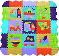 Детский игровой коврик-пазл Быстрый транспорт с бортиком