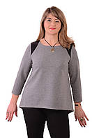 Блуза темно синяя с кружевом  женская лонгслив свитшот , Бл 013-3 . 52, серый жемчужный