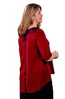 Блуза темно синяя с кружевом  женская лонгслив свитшот , Бл 013-3 . 52, бордо