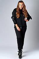 Женский стильный теплый спортивный костюм батал. Размер 48-54. Материал: тринить. Цвет: серый, черный.