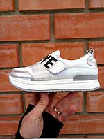 Кроссовки на платформе LOVE белый+серебро