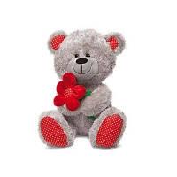 Мягкая игрушка Медведь с красным цветком (муз. 22 см) Lava