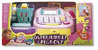 Электронный кассовый аппарат с микрофоном (розовый), игровой набор Супермаркет, KEENWAY