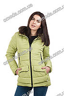 Молодежная весенняя куртка с капюшоном Дина оливковая
