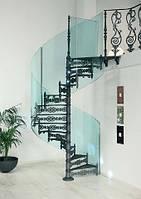 Эксклюзивные кованые винтовые лестницы со стеклом