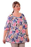 Шелковая блузка туника для полных Бл 016-001