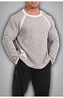 Мужская футболка с длинным рукавом светло серая