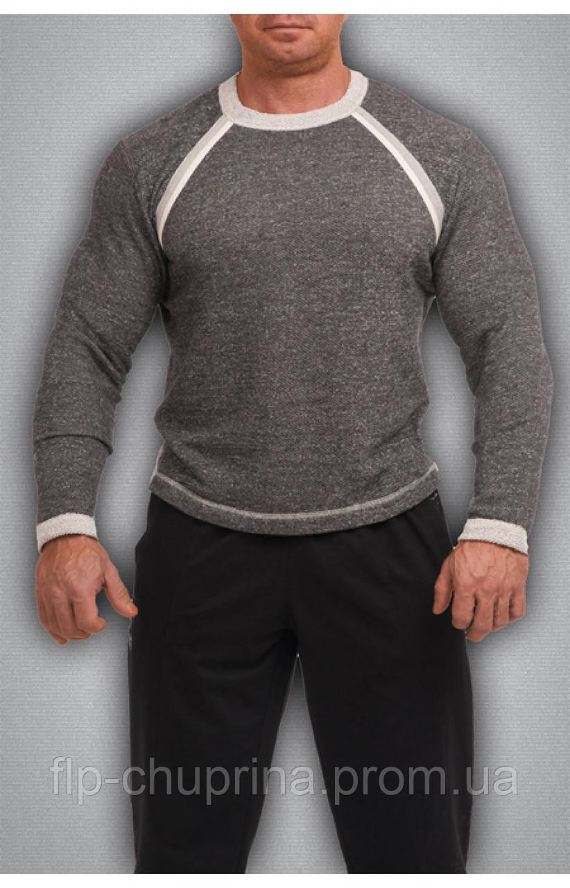 Мужская футболка с длинным рукавом темно серая