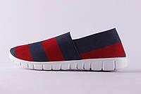 Мокасины женские W383-2 красные т.синяя полоса