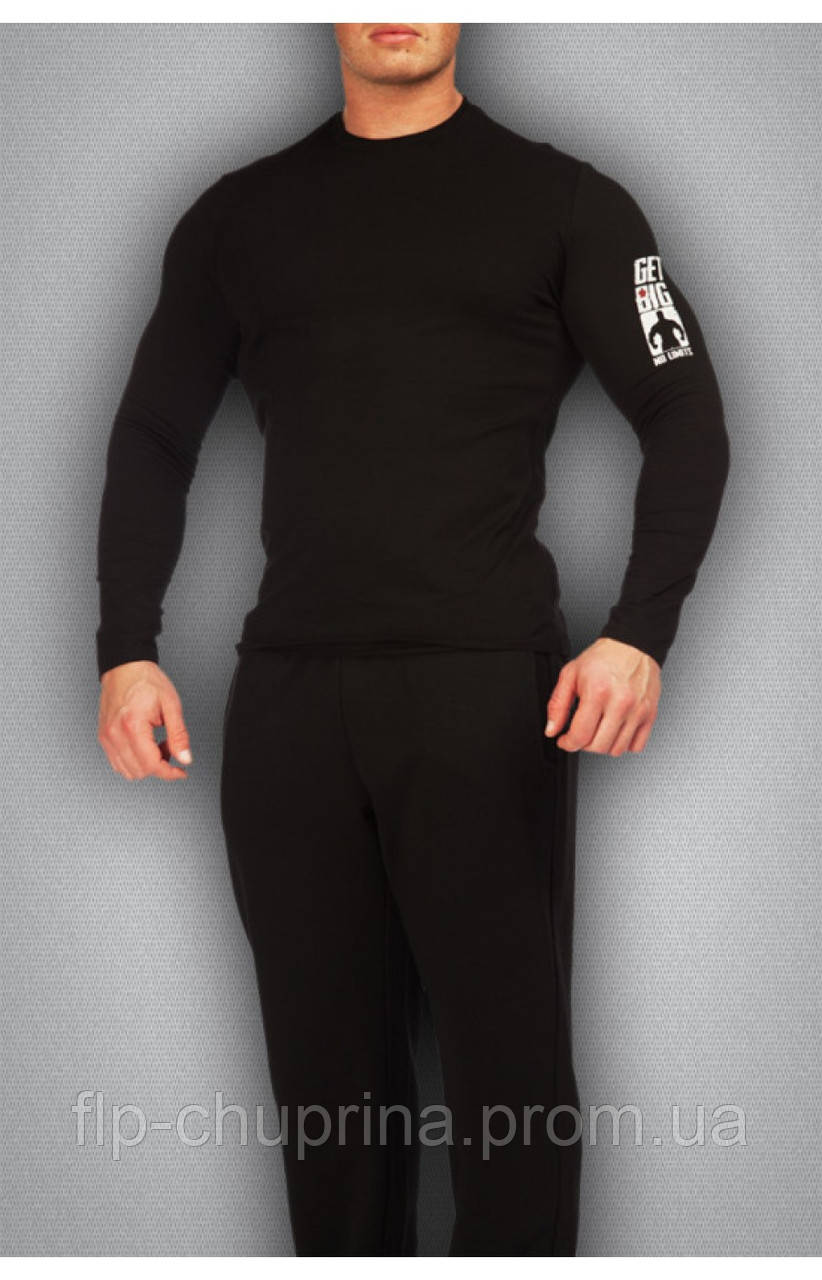 Чоловіча футболка чорна з довгим рукавом