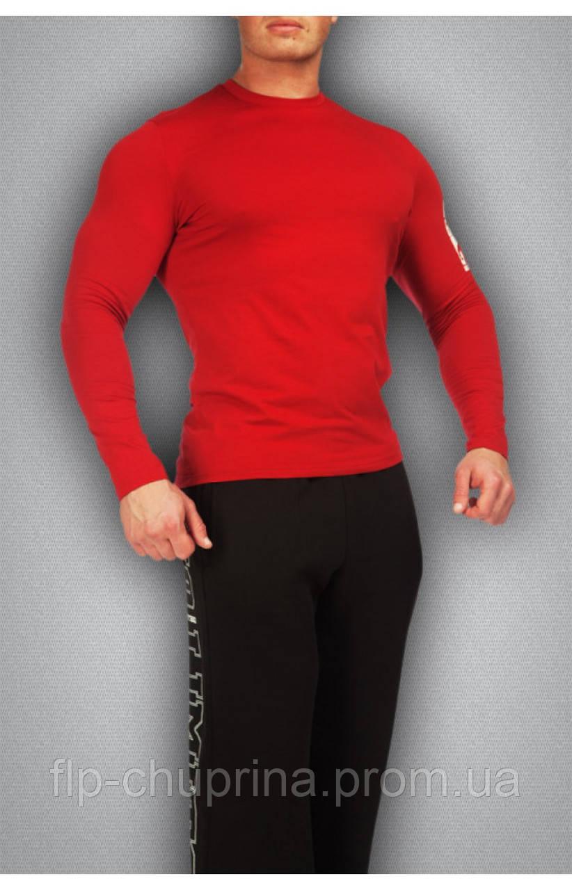 Мужская футболка красная с длинным рукавом