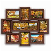 Мультирамка-коллаж Виктория на 9 фотографий коричневая  премиум
