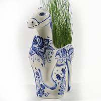 Эколошадь - фарфоровый сувенир кашпо для цветов карандашница вазочка подарок девушке роспись кобальтом
