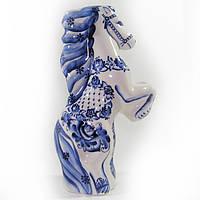 Ваза Лошадь на дыбах роспись кобальтом фарфоровая статуэтка сувенир