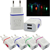 AC Зарядное Устройство Адаптер LED USB 2 Порта, фото 1