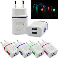 AC Зарядное Устройство Адаптер LED USB 2 Порта