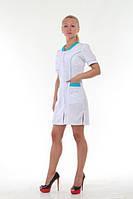Женский медицинский халат с коротким рукавом (бирюза) Х-2167
