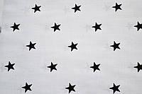 """Польская хлопковая ткань """"звезды черные мелкие на белом"""""""
