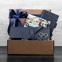Подарочный набор для пары кожаный синий (клатч-кошелек, кошелек, 2 брелка, открытка) ручная работа