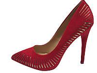 Женские туфли лодочки красный замш