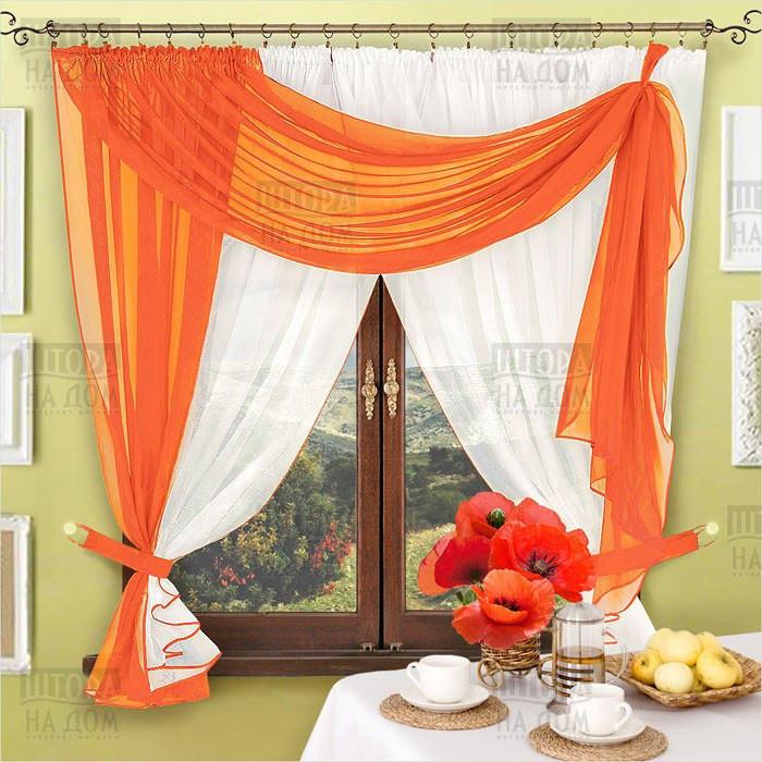 Комплект штор Милена Оранжевый, кухонные(Вуаль)