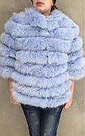Шубка-куртка з хутра песця, блакитна, фото 1