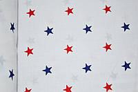 """Польская хлопковая ткань """"звезды красно-синие на белом"""""""