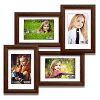 Мультирамка-коллаж Лесенка Мини на 4 фотографии 10х15 коричневая