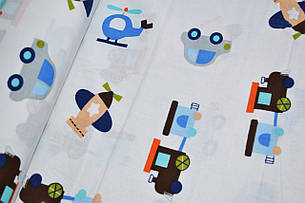 """Польская хлопковая ткань """"машинки с самолетами голубые на белом"""", фото 2"""
