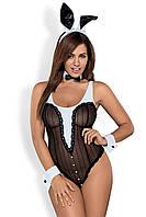Сексуальный костюм Obsessive Bunny body L/XL, XXL боди с хвостиком, манжеты, бабочка и ушки в комплекте