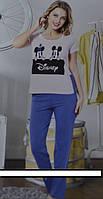 Женский комплект для отдыха и сна   состоит из футболки и брюк. Размерный ряд  46/48, 48/50, 50/52.