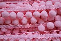 Тасьма с помпонами 10 мм розовые