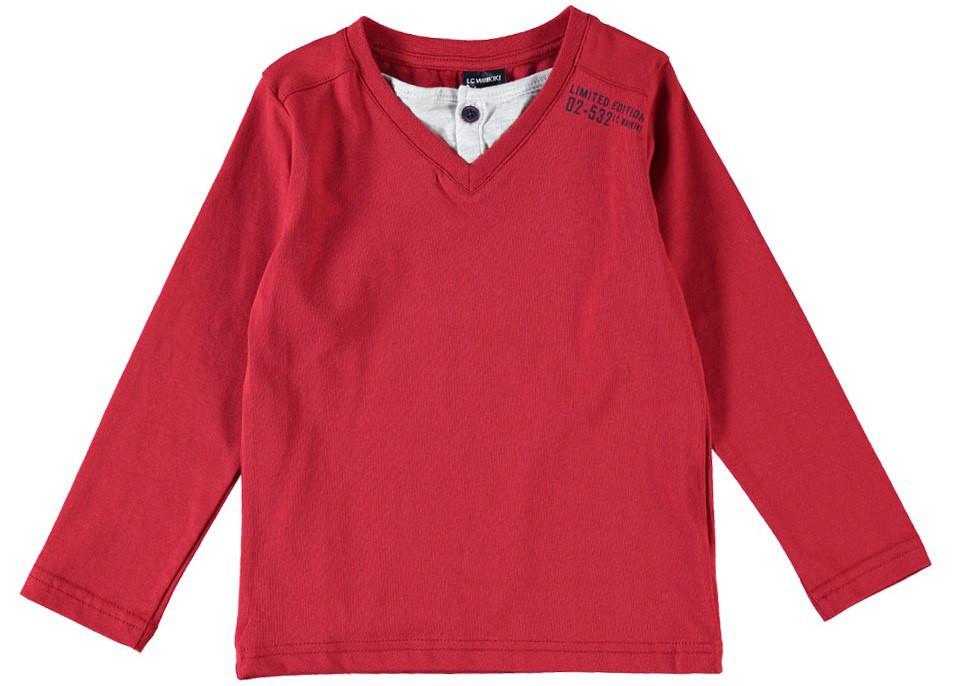 Реглан для мальчика LC Waikiki красного цвета с серой горловиной 100% хлопок