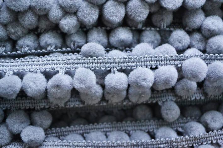 Тасьма с помпонами 10 мм серые, фото 2